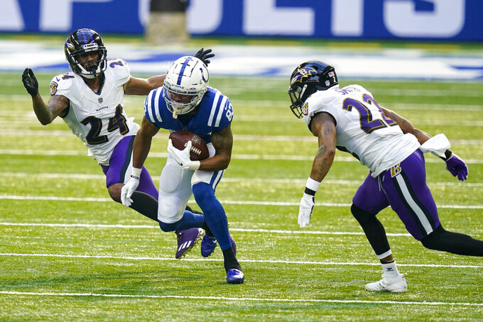 Indianapolis Colts wide receiver Marcus Johnson (83) cuts between Baltimore Ravens cornerback Marcus Peters (24) and cornerback Jimmy Smith (22) after a catch in the first half of an NFL football game in Indianapolis, Sunday, Nov. 8, 2020. (AP Photo/Darron Cummings)