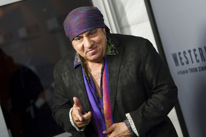 """FILE — In this Oct. 16. 2019 file photo, musician Steven Van Zandt attends the special screening of """"Western Stars,"""" in New York. Van Zandt and Connecticut Gov. Ned Lamont on Tuesday, April 20, 2021 announced an initiative designed to help students re-engage in education. Van Zandt founded the TeachRock program, a curriculum that incorporates music into lesson plans. (Photo by Evan Agostini/Invision/AP, File)"""