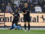 Los Angeles FC forward Christian Ramirez (21) reacts after missing on scoring chance against the Montreal Impact during the first half of an MLS soccer match in Los Angeles, Friday, May 24, 2019. (AP Photo/Ringo H.W. Chiu)