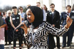 U.S. Rep Ilhan Omar, D-Minn., speaks to support LGBTQ and allied high school students from across the state of Minnesota who marched to the State Capitol steps Thursday, March 21, 2019 in St. Paul, Minn. to urge lawmakers to protect LGBTQ Minnesotans and youth from the effects of so-called conversion