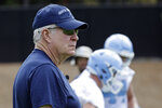 North Carolina head coach Mack Brown watches players during NCAA college football practice Friday, Aug. 2, 2019 in Chapel Hill, N.C. (AP Photo/Gerry Broome)