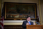 Illinois Gov. JB Pritzker answers questions from the media during his daily press briefing on the COVID-19 pandemic from his office at the Illinois State Capitol, Friday, May 22, 2020, in Springfield, Ill. (Justin L. Fowler/The State Journal-Register via AP, Pool)