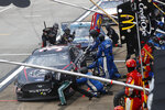 John Hunter Nemechek (38) gets service in the pits during the NASCAR Cup Series auto race at the Talladega Superspeedway in Talladega Ala., Monday, June 22, 2020. (AP Photo/John Bazemore)