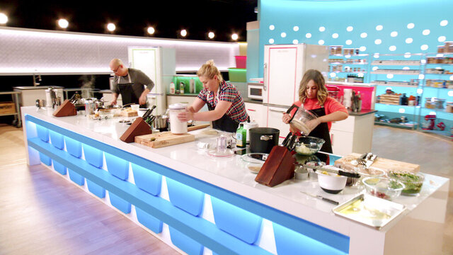 """In this undated photo provided by Netflix, from left to right Jonathan Kim, Alexandra Jones and Melissa Schwimmer compete in Netflix's new food-based reality game show """"Best Leftovers Ever!"""" (Netflix via AP)"""