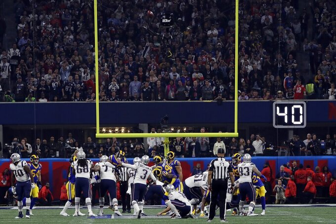 New England Patriots' Stephen Gostkowski (3) scores a field goal, during the second half of the NFL Super Bowl 53 football game against the Los Angeles Rams, Sunday, Feb. 3, 2019, in Atlanta. The Patriots defeated the Rams 13-3.(AP Photo/Frank Franklin II)
