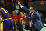 Georgia coach Tom Crean directs his team during an NCAA college basketball game against LSU in Athens, Ga., on Saturday, Feb. 16, 2019. (Joshua L. Jones/Athens Banner-Herald via AP)