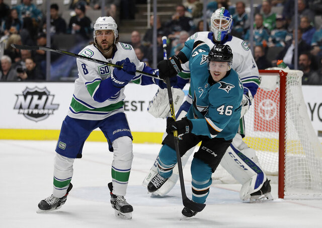 Vancouver Canucks' Christopher Tanev, left, and San Jose Sharks' Joel Kellman (46) watch an airborne puck during the first period of an NHL hockey game Wednesday, Jan. 29, 2020, in San Jose, Calif. (AP Photo/Ben Margot)