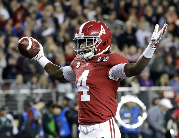 Alabama's Jerry Jeudy celebrates his touchdown catch during the first half the NCAA college football playoff championship game against Clemson, Monday, Jan. 7, 2019, in Santa Clara, Calif. (AP Photo/Chris Carlson)