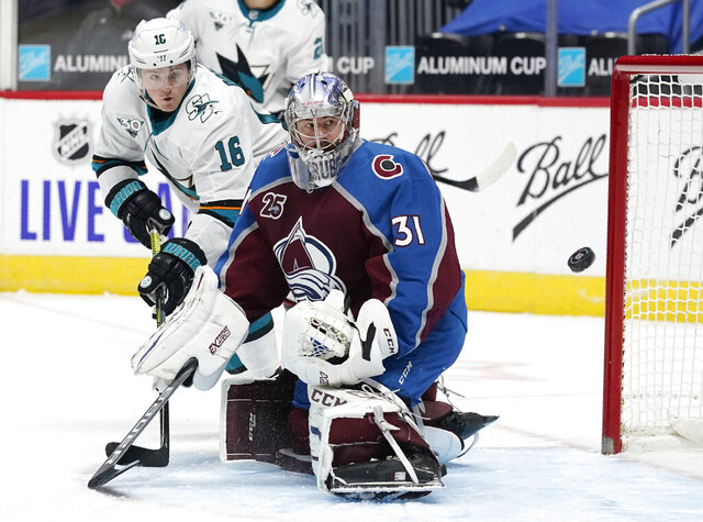 San Jose Sharks center Ryan Donato, back, redirects a shot past Colorado Avalanche goaltender Philipp Grubauer and wide of the goal during the third period of an NHL hockey game Tuesday, Jan. 26, 2021, in Denver. (AP Photo/David Zalubowski)