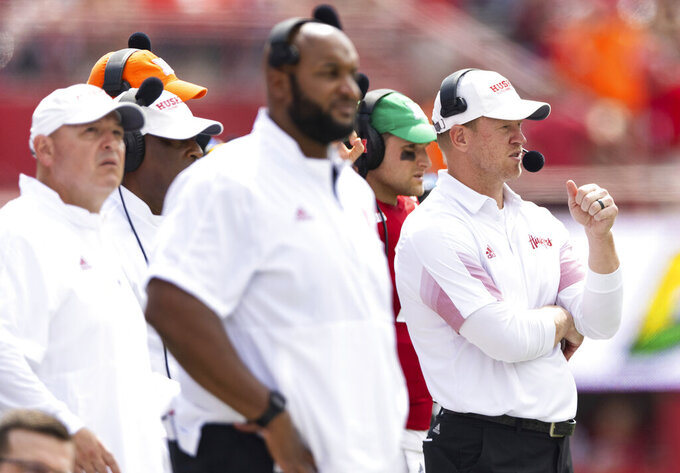Nebraska head coach Scott Frost, right, works the sideline during the second half of an NCAA college football game against Fordham, Saturday, Sept. 4, 2021, at Memorial Stadium in Lincoln, Neb. (AP Photo/Rebecca S. Gratz)