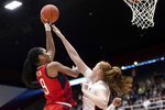 U.S. forward A'ja Wilson, left, shoots as Stanford forward Alyssa Jerome defends during the first quarter of an exhibition women's basketball game Saturday, Nov. 2, 2019, in Stanford, Calif. (AP Photo/John Hefti)