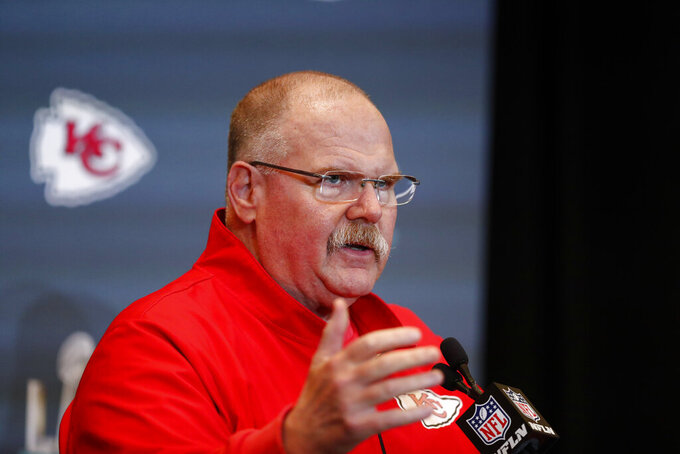 Kansas City Chiefs head coach Andy Reid speaks during a news conference on Thursday, Jan. 30, 2020, in Aventura, Fla., for the NFL Super Bowl 54 football game. (AP Photo/Brynn Anderson)