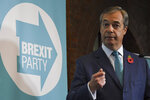 Brexit Party leader Nigel Farage launches his party's manifesto ahead of the upcoming General Election, in London, Friday, Nov. 1, 2019.  Farage kicked off the Brexit Party campaign Friday, for Britain's December general election. (AP Photo/Alberto Pezzali)