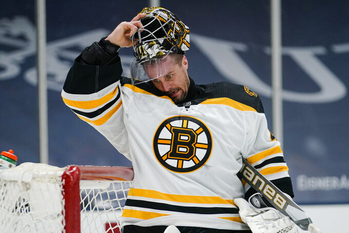 Boston Bruins goaltender Jaroslav Halak (41) reacts after New York Islanders' Brock Nelson scored a goal during the second period of an NHL hockey game Tuesday, March 9, 2021, in Uniondale, N.Y. (AP Photo/Frank Franklin II)