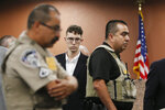 El Paso Walmart shooting suspect Patrick Crusius pleads not guilty during his arraignment Thursday, Oct. 10, 2019 in El Paso, Texas. Crusius, 21, from Allen, Texas, stands accused of killing 22 and injuring 25 in the Aug. 3 mass shooting at an East El Paso Walmart in the seventh deadliest mass shooting in modern U.S. history and third deadliest in Texas. (Briana Sanchez / El Paso Times via AP, Pool)