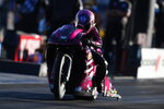 In this photo provided by the NHRA, Pro Stock Motorcycle's Angie Smith raced to her first win since 2014 in the final round at The Strip at Las Vegas Motor Speedway thanks to her run of 6.917 seconds at 194.83 mph, Sunday, Nov. 1, 2020, in Las Vegas.  (Jerry Foss/NHRA via AP)