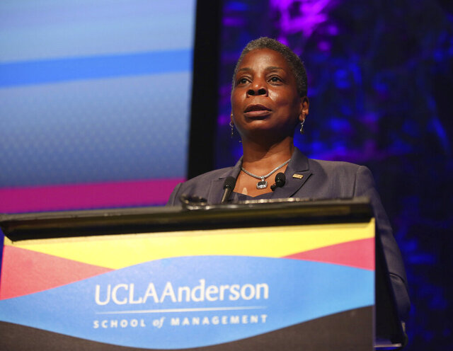 FILE- In this Oct. 6, 2015 file photo, Ursula Burns speaks at the Eighth Annual John Wooden Global Leadership Award Dinner in Beverly Hills, Calif. Burns, a trailblazer among African American women in the business world, wants to help make sure that the stories of other pioneering women like her are not forgotten. The HistoryMakers, an oral archive that's recorded the stories of more than 3,300 African Americans over the last 20 years, has launched The WomanMakers initiative with a $1 million gift from Burns, the former head of Xerox. (Photo by Matt Sayles/Invision for UCLA Anderson/AP Images, File)