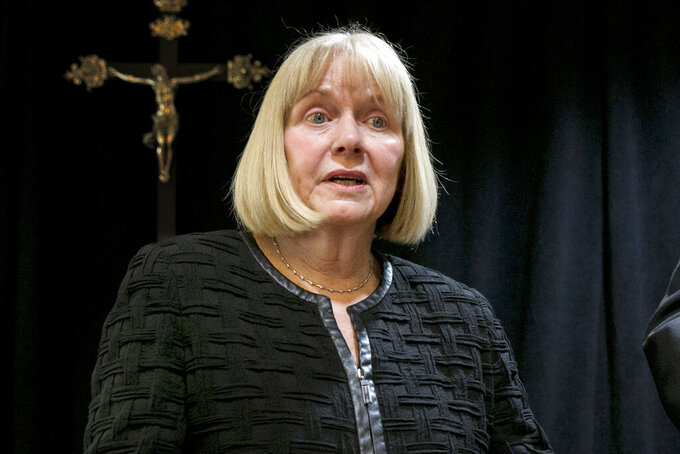FILE — In this Sept. 20, 2018 file photo, former federal judge Barbara Jones address a news conference at the offices of the New York Archdiocese, in New York. Jones, a former federal judge who ensured attorney-client privilege was protected in a review of materials seized from ex-President Donald Trump's personal lawyer three years ago, is again the favorite to do the same chore after raids on Rudolph Giuliani's home and office, prosecutors said Thursday, June 3, 2021. (AP Photo/Richard Drew, File)