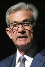 Federal Reserve Chairman Jerome Powell speaks Monday, Oct. 7, 2019, in Salt Lake City, before the premiere of a film commemorating Marriner Eccles, who led the Fed from 1934 until 1948. Powell is stressing the importance of an independent central bank