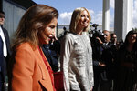 Ivanka Trump, the daughter and senior adviser to President Donald Trump, is greeted by Princess Lalla Meryem of Morocco as she arrives in Rabat, Morocco, Wednesday, Nov. 6, 2019, where she will promote a global economical program for women. (AP Photo/Jacquelyn Martin)