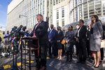 Peter Fitzhugh, of U.S. Immigration and Customs Enforcement Homeland Security Investigations, speaks to the media on the guilty verdict of R. Kelly at the Brooklyn Federal Courthouse, Monday, Sept. 27, 2021, in New York. (AP Photo/Brittainy Newman)