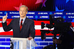 Democratic presidential candidate investor Tom Steyer speaks during a Democratic presidential primary debate, Wednesday, Nov. 20, 2019, in Atlanta. (AP Photo/John Bazemore)