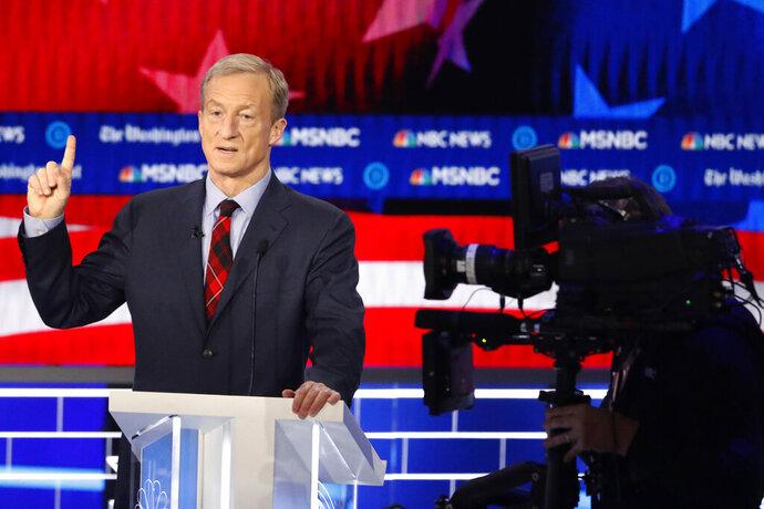 Democratic presidential candidate investor Tom Steyer speaks during a Democratic presidential primary debate, Wednesday, Nov. 20, 2019, in Atlanta. (AP Photo/John Bazemore)