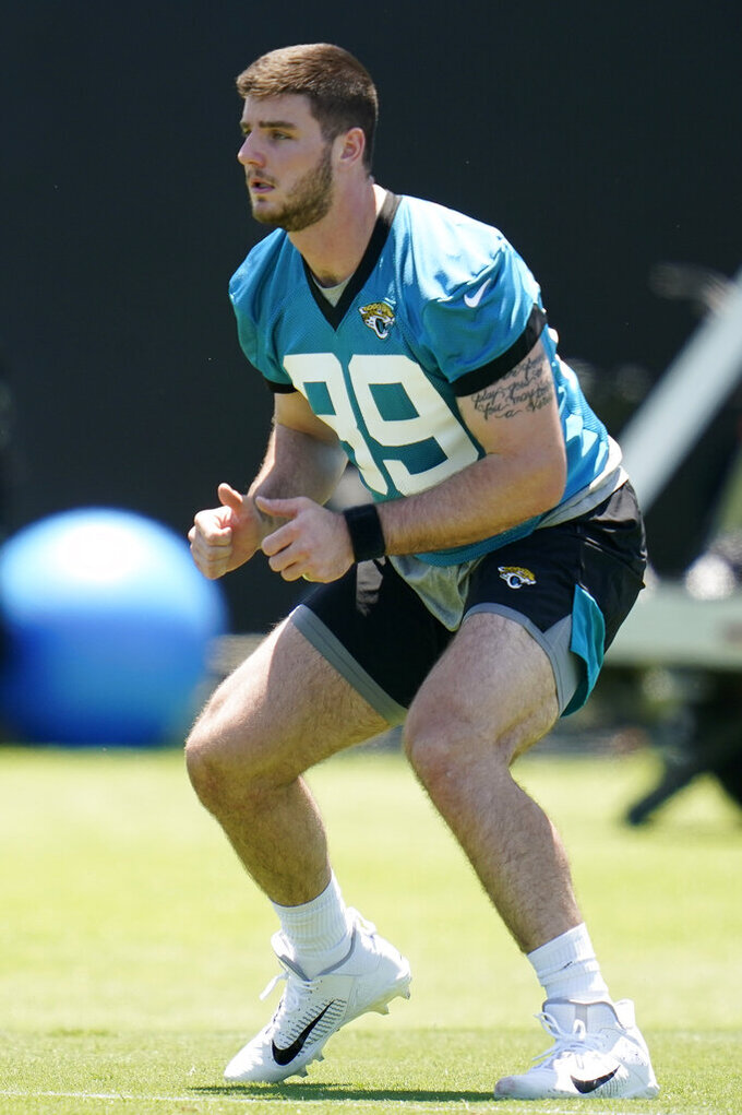 Jacksonville Jaguars tight end Luke Farrell performs a drill during an NFL football rookie minicamp, Saturday, May 15, 2021, in Jacksonville, Fla. (AP Photo/John Raoux)