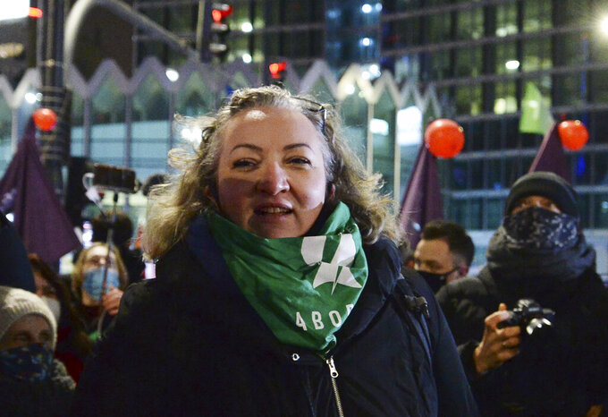 This file photo from Jan.29.2021 shows Marta Lempart, a key leader of the Polish Women's Strike, in Warsaw, Poland. Lempart has been charged with criminal felonies for her role in organizing mass protests during a pandemic. (AP Photo/Czarek Sokolowski/file)