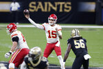 Kansas City Chiefs quarterback Patrick Mahomes (15) passes in the first half of an NFL football game against the New Orleans Saints in New Orleans, Sunday, Dec. 20, 2020. (AP Photo/Butch Dill)