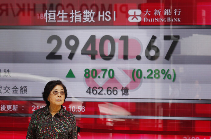 A woman stands in front of an electronic board showing Hong Kong share index outside a bank in Hong Kong, Thursday, March 21, 2019. Shares in Asia are mostly higher after the Federal Reserve said it has ruled out interest rate increases for this year. (AP Photo/Kin Cheung)