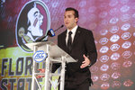 FILE - Florida State quarterback McKenzie Milton answers a question during an NCAA college football news conference at the Atlantic Coast Conference media days in Charlotte, N.C., in this Thursday, July 22, 2021, file photo. Milton, who won his last 24 starts at UCF, now is attempting a comeback with Florida State and competing with Jordan Travis for the right to open the season as the Seminoles' starting quarterback.(AP Photo/Nell Redmond, File)