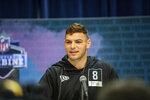 Cole Kmet talks to the media at the NFL Scouting Combine on Tuesday, Feb. 25, 2020 in Indianapolis. (Detroit Lions via AP)