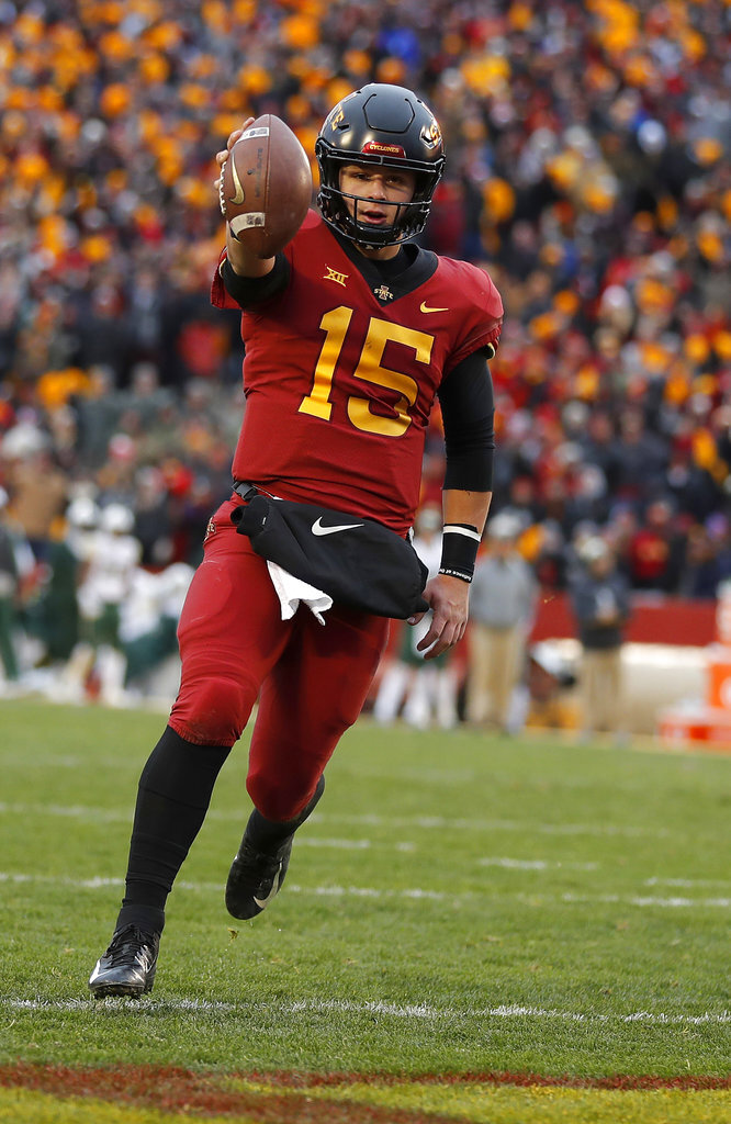Iowa State quarterback Brock Purdy runs in a touchdown during the first half of an NCAA college football game against Baylor, Saturday, Nov. 10, 2018, in Ames. (AP Photo/Matthew Putney)