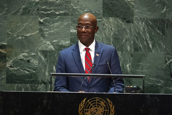 FILE - In this Sept. 27, 2019 file photo, Trinidad and Tobago's Prime Minister Keith Rowley addresses the 74th session of the U.N. General Assembly at the U.N. headquarters. Preliminary election results from an Aug. 10, 2020 vote shows Rowley appearing to have secured re-election, however, the opposition United National Congress has demanded a recount. (AP Photo/Kevin Hagen, File)