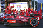 Marcus Ericsson arrives in Victory Circle during the IndyCar Music City Grand Prix auto race Sunday, Aug. 8, 2021, in Nashville, Tenn. (AP Photo/Harrison McClary)