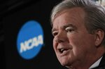 FILE - In this March 29, 2018, file photo, NCAA President Mark Emmert speaks during a news conference at the Final Four NCAA college basketball tournament, in San Antonio. The NCAA is on its heels again, playing defense of its archaic amateurism rules after missing an opportunity to get out in front of an issue.  (AP Photo/David J. Phillip, File)