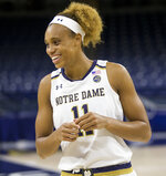 Notre Dame's Brianna Turner laughs with teammates during the university's NCAA college basketball media day, Thursday, Oct. 11, 2018, in South Bend, Ind. (Robert Franklin/South Bend Tribune via AP)