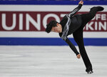 Nathan Chen from the U.S. performs his men's free skating routine during the ISU World Figure Skating Championships at Saitama Super Arena in Saitama, north of Tokyo, Saturday, March 23, 2019. Chen won the gold medal. (AP Photo/Andy Wong)