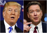 This combination photo shows President Donald Trump speaking during a roundtable discussion on tax policy in White Sulphur Springs, W.Va., on April 5, 2018, left, and former FBI director James Comey speaking during a Senate Intelligence Committee hearing on Capitol Hill in Washington on June 8, 2017. Trump fired off a series of tweets ahead of Comey's first interview on his book,
