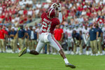 Alabama defensive back Jared Mayden (21) makes an interception against Mississippi during the second half of an NCAA college football game, Saturday, Sept. 28, 2019, in Tuscaloosa, Ala. (AP Photo/Vasha Hunt)