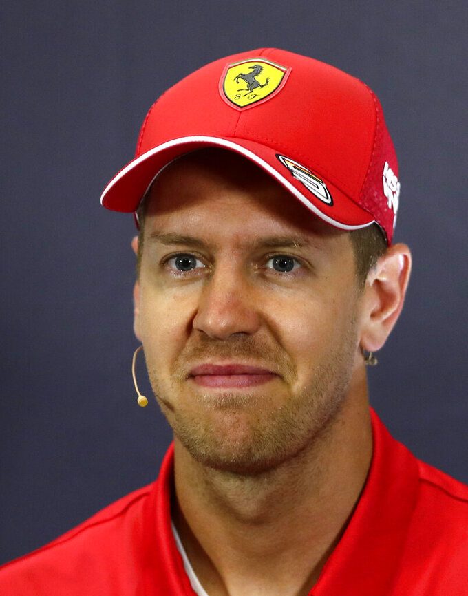 Ferrari's German driver Sebastian Vettel looks on during a press conference at the Barcelona Catalunya racetrack in Montmelo, Spain, Thursday, May 9, 2019. The Formula One race will be held on Sunday. (AP Photo/Manu Fernandez)