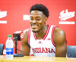 Indiana's Xavier Johnson answers questions during the program's NCAA college basketball media day in Bloomington, Ind., Monday, Sept. 27, 2021. (Rich Janzaruk/The Herald-Times via AP)