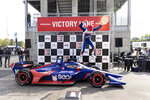 Chip Ganassi Racing driver Alex Palou (10) celebrates on Victory Lane after winning the Honda Indy Grand Prix of Alabama auto race at Barber Motorsports Parkway, Sunday, April 18, 2021, in Birmingham, Ala. (AP Photo/Vasha Hunt)