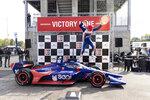 Chip Ganassi Racing driver Alex Palou (10) celebrates on Victory Lane after winning the Honda Indy Grand Prix of Alabama auto race at Barber Motorsports Parkway, Sunday, April 18, 2021, in Birmingham, Ala. (AP Photo/Vasha Hunt)