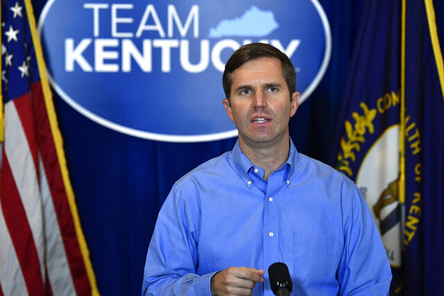 FILE - Kentucky Governor Andy Beshear addresses the media following the return of a grand jury investigation into the death of Breonna Taylor at the Kentucky State Capitol in Frankfort, Ky., Wednesday, Sept. 23, 2020. Kentucky's Supreme Court has ruled, Thursday, Sept. 24,  that Beshear properly paid a law firm $4.2 million in legal fees for helping the state settle a lawsuit against opioid-maker Purdue Pharma when he was attorney general. (AP Photo/Timothy D. Easley)
