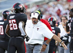 Texas Tech head coach Matt Wells celebrates a touchdown against UTEP during the first half of the NCAA college football game in Lubbock, Texas, Saturday, Sept. 7, 2019. (Sam Grenadier/Lubbock Avalanche-Journal via AP)