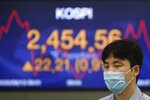 A currency trader walks by a screen showing the Korea Composite Stock Price Index (KOSPI) at the foreign exchange dealing room in Seoul, South Korea, Thursday, Aug. 13, 2020. Asian shares were mostly higher on Thursday, cheered by the rally on Wall Street that's likely a boon for export-driven regional economies, even as investors worry about the coronavirus pandemic. (AP Photo/Lee Jin-man)