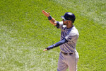 Tampa Bay Rays' Kevin Kiermaier celebrates as he waits for Mike Zunino at home after scoring on Zunino's two-run home run during the seventh inning of a baseball game Wednesday, June 16, 2021, in Chicago. (AP Photo/Charles Rex Arbogast)