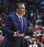 Kentucky head coach John Calipari reacts to a call during an NCAA college basketball game against Mississippi in Oxford, Miss. on Tuesday, March 5, 2019. (Bruce Newman/The Oxford Eagle via AP)